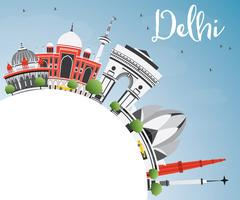 Delhi Skyline with Gray Buildings, Blue Sky and Copy Space. Stock Illustration