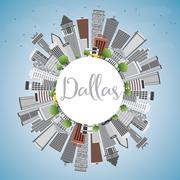 Dallas Skyline with Gray Buildings, Blue Sky and Copy Space.  Stock Illustration