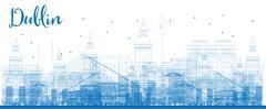 Outline Dublin Skyline with Blue Buildings.  Stock Illustration