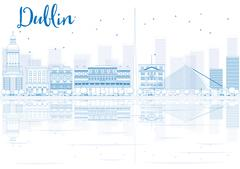 Outline Dublin skyline with blue buildings and reflections. Stock Illustration