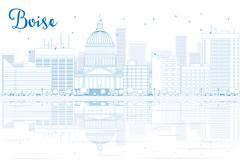 Outline Boise skyline with blue buildings and reflections.  Piirros