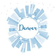 Outline Denver Skyline with Blue Buildings and Copy Space.  Piirros