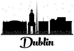 Dublin City skyline black and white silhouette.  Piirros