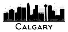 Calgary City skyline black and white silhouette.  Piirros