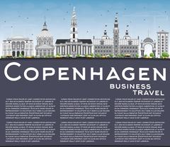 Copenhagen Skyline with Gray Landmarks, Blue Sky and Copy Space. Stock Illustration