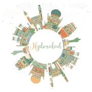 Abstract Hyderabad Skyline with Color Landmarks and Copy Space. Stock Illustration