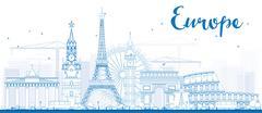 Famous landmarks in Europe.  Stock Illustration