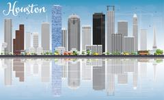 Houston Skyline with Gray Buildings, Blue Sky and Reflections.  Stock Illustration