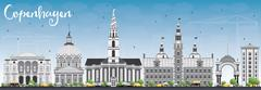 Copenhagen Skyline with Gray Landmarks and Blue Sky.  Stock Illustration