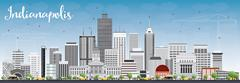Indianapolis Skyline with Gray Buildings and Blue Sky.  Piirros
