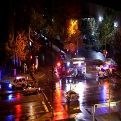 Aerial view of car accident scene at night with 4k resolution Stock Footage