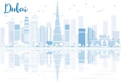Outline Dubai skyline with blue buildings and reflections.  Piirros