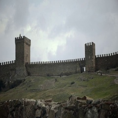 The walls of the Genoese Fortress Stock Footage