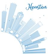 Outline Houston Skyline with Blue Buildings.  Piirros