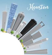 Houston Skyline with Gray Buildings and Blue Sky.  Piirros
