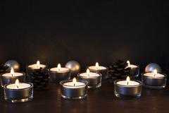 Seasonal Christmas candles 003 Stock Photos
