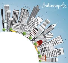 Indianapolis Skyline with Gray Buildings, Blue Sky and Copy Space. Piirros