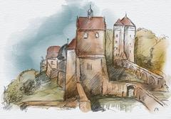 Sketch of castle Stolpen Stock Illustration