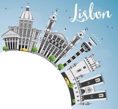 Lisbon Skyline with Gray Buildings, Blue Sky and Copy Space.  Stock Illustration