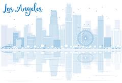 Outline Los Angeles skyline with blue buildings and reflections.  Stock Illustration