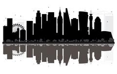 London City skyline black and white silhouette with Reflections.  Piirros