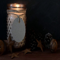 Rustic Christmas Candle Still Life Stock Footage
