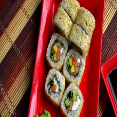 Delicious japanese roll with sesame Stock Footage