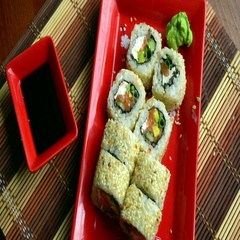 Delicious Japanese roll in sesame Stock Footage