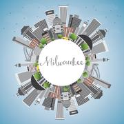 Milwaukee Skyline with Gray Buildings, Blue Sky and Copy Space.  Stock Illustration