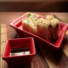 Japanese roll with sesame Stock Footage