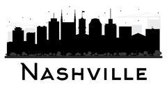 Nashville City skyline black and white silhouette.  Piirros