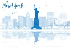 Outline New York city skyline with blue buildings. Piirros