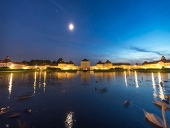 Schloss Nymphenburg motion time lapse in 4K at night Stock Footage