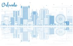 Outline Orlando Skyline with Blue Buildings and Reflections. Stock Illustration