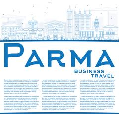 Outline Parma Skyline with Blue Buildings and Copy Space. Stock Illustration