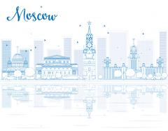 Outline Moscow skyline with blue landmarks. Piirros