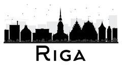 Riga City skyline black and white silhouette.  Piirros