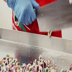 Manufacture of caramel sweets and candies Stock Footage
