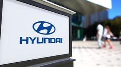 Street signage board with Hyundai Motor Company logo. Blurred office center and Piirros
