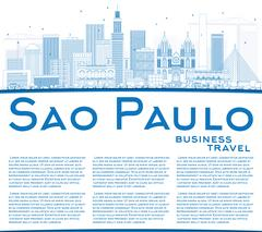 Outline Sao Paulo Skyline with Blue Buildings and Copy Space. Stock Illustration