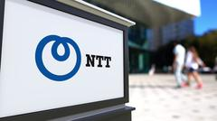 Street signage board with Nippon Telegraph and Telephone Corporation NTT logo Stock Illustration