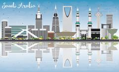 Saudi Arabia Skyline with Landmarks, Blue Sky and Reflections. Stock Illustration