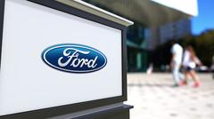 Street signage board with Ford Motor Company logo. Blurred office center and Piirros