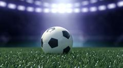 Football stadium in lights with soccer ball. 3d rendering Stock Illustration