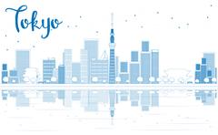 Outline Tokyo skyline with skyscrapers Piirros