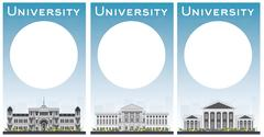 Set of university study banners with copy space Stock Illustration