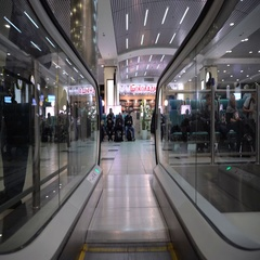 Movement on the escalator in the airport Domodedovo Stock Footage