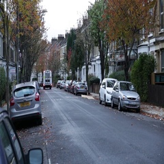 Typical English street in London Stock Footage