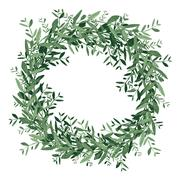 Watercolor olive wreath. Stock Illustration