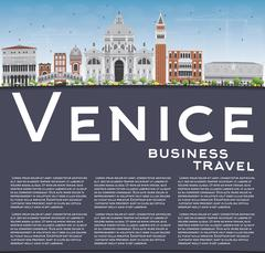 Venice Skyline Silhouette with Gray and Brown Buildings Stock Illustration